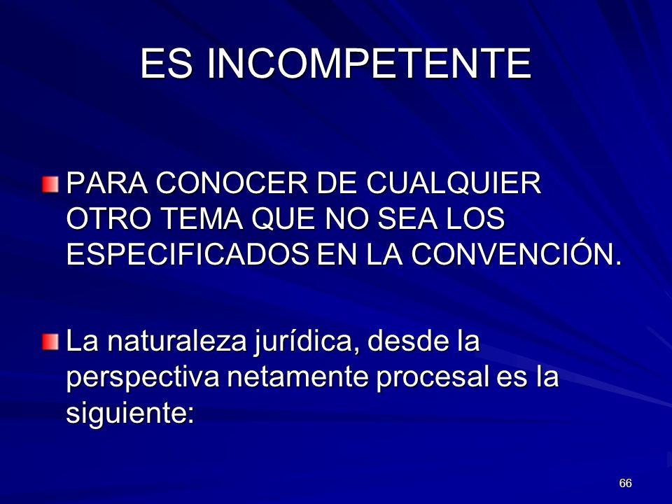 66 ES INCOMPETENTE PARA CONOCER DE CUALQUIER OTRO TEMA QUE NO SEA LOS ESPECIFICADOS EN LA CONVENCIÓN. La naturaleza jurídica, desde la perspectiva net
