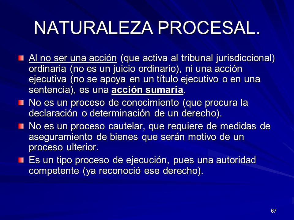67 NATURALEZA PROCESAL. Al no ser una acción (que activa al tribunal jurisdiccional) ordinaria (no es un juicio ordinario), ni una acción ejecutiva (n