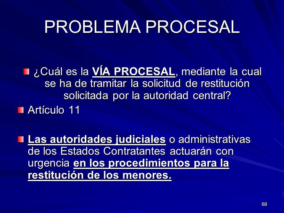 68 PROBLEMA PROCESAL ¿Cuál es la VÍA PROCESAL, mediante la cual se ha de tramitar la solicitud de restitución solicitada por la autoridad central? Art