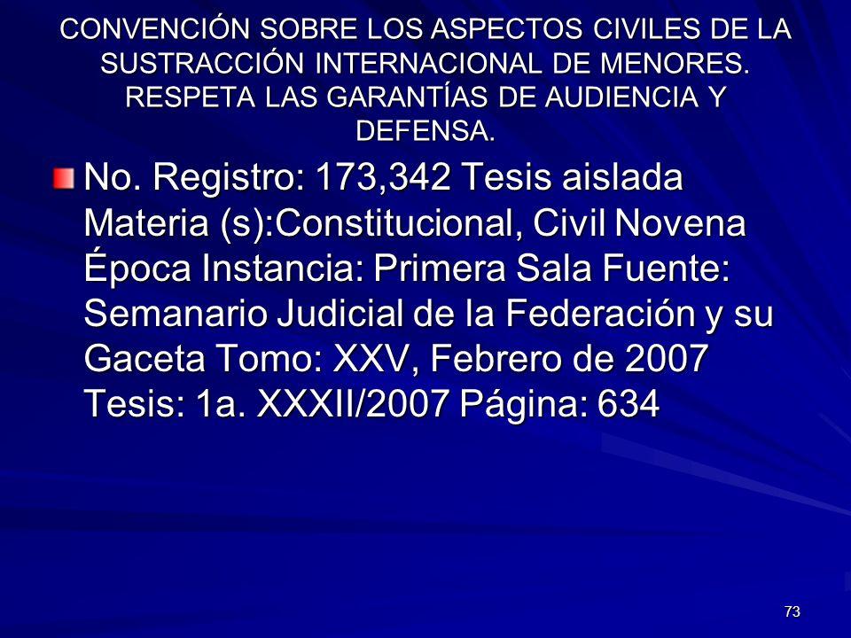 73 CONVENCIÓN SOBRE LOS ASPECTOS CIVILES DE LA SUSTRACCIÓN INTERNACIONAL DE MENORES. RESPETA LAS GARANTÍAS DE AUDIENCIA Y DEFENSA. No. Registro: 173,3