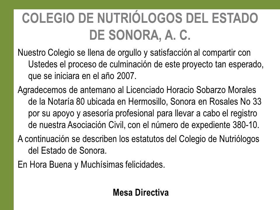 COLEGIO DE NUTRIÓLOGOS DEL ESTADO DE SONORA, A.C.
