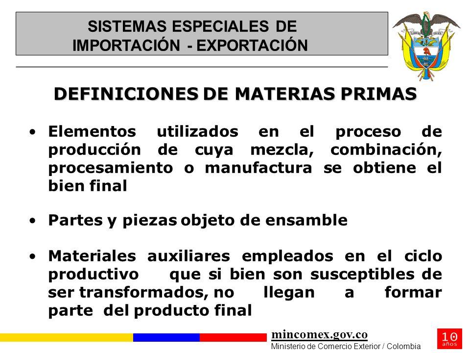 mincomex.gov.co Ministerio de Comercio Exterior / Colombia DEFINICIONES DE MATERIAS PRIMAS Elementos utilizados en el proceso de producción de cuya me