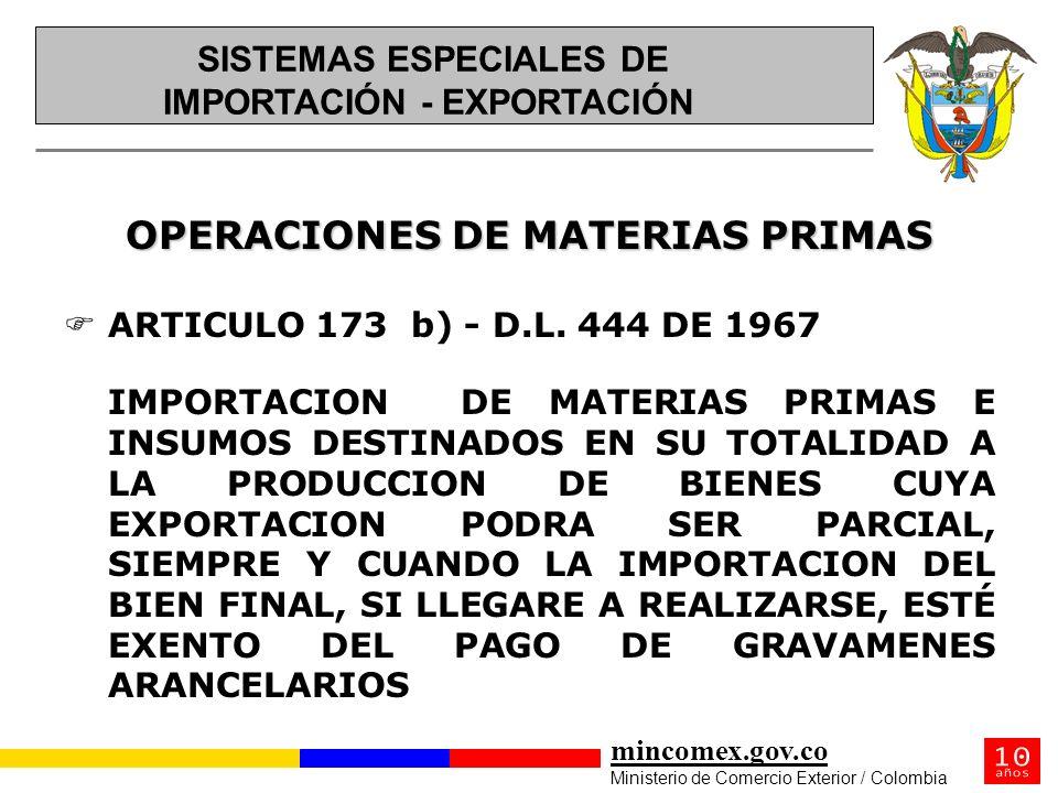 mincomex.gov.co Ministerio de Comercio Exterior / Colombia OPERACIONES DE MATERIAS PRIMAS FARTICULO 173 b) - D.L. 444 DE 1967 IMPORTACION DE MATERIAS