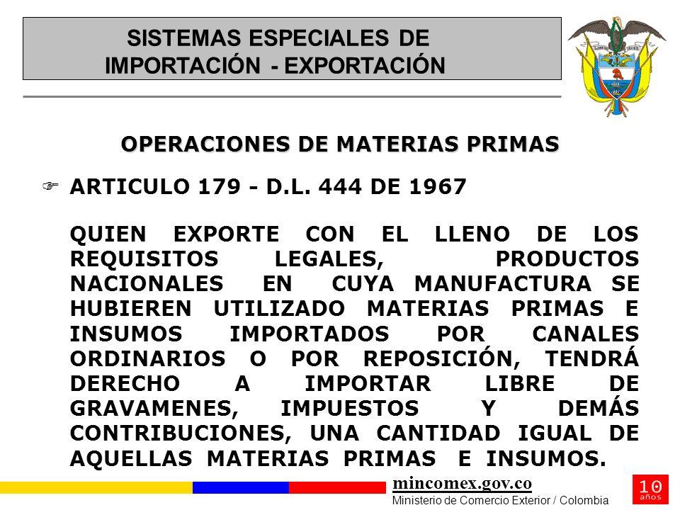 mincomex.gov.co Ministerio de Comercio Exterior / Colombia OPERACIONES DE MATERIAS PRIMAS FARTICULO 179 - D.L. 444 DE 1967 QUIEN EXPORTE CON EL LLENO