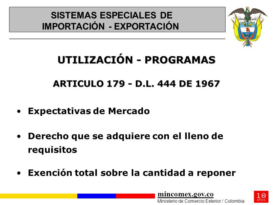 mincomex.gov.co Ministerio de Comercio Exterior / Colombia UTILIZACIÓN - PROGRAMAS ARTICULO 179 - D.L. 444 DE 1967 Expectativas de Mercado Derecho que