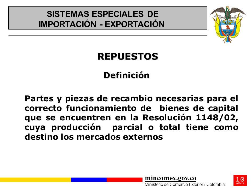 mincomex.gov.co Ministerio de Comercio Exterior / Colombia REPUESTOS REPUESTOS Definición Partes y piezas de recambio necesarias para el correcto func
