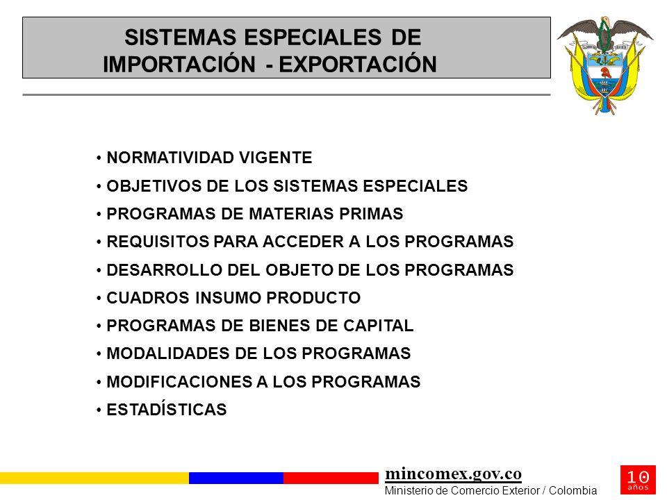 mincomex.gov.co Ministerio de Comercio Exterior / Colombia NORMATIVIDAD VIGENTE OBJETIVOS DE LOS SISTEMAS ESPECIALES PROGRAMAS DE MATERIAS PRIMAS REQU