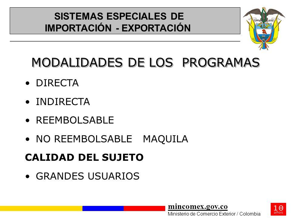 mincomex.gov.co Ministerio de Comercio Exterior / Colombia MODALIDADES DE LOS PROGRAMAS DIRECTA INDIRECTA REEMBOLSABLE NO REEMBOLSABLE MAQUILA CALIDAD