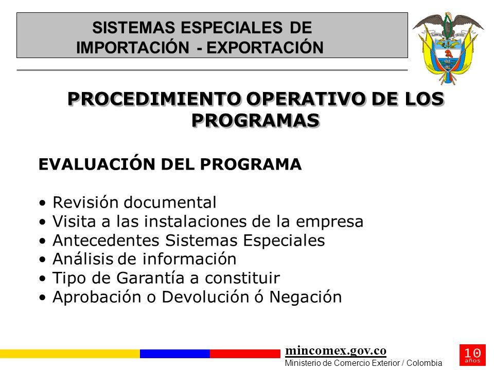 mincomex.gov.co Ministerio de Comercio Exterior / Colombia PROCEDIMIENTO OPERATIVO DE LOS PROGRAMAS EVALUACIÓN DEL PROGRAMA Revisión documental Visita
