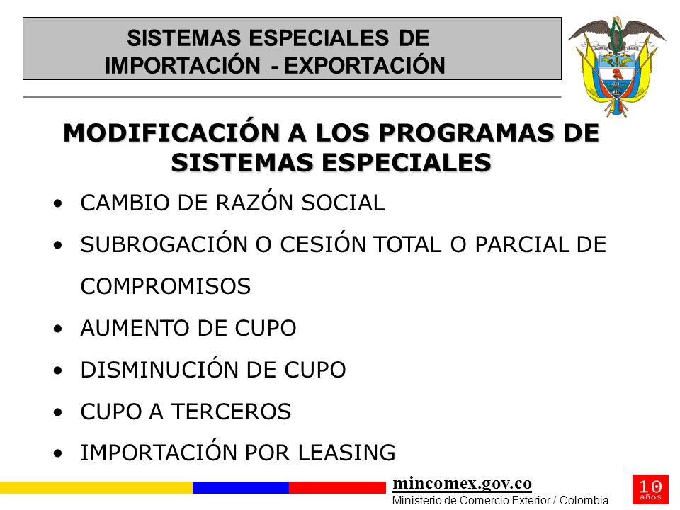 mincomex.gov.co Ministerio de Comercio Exterior / Colombia MODIFICACIÓN A LOS PROGRAMAS DE SISTEMAS ESPECIALES CAMBIO DE RAZÓN SOCIAL SUBROGACIÓN O CE