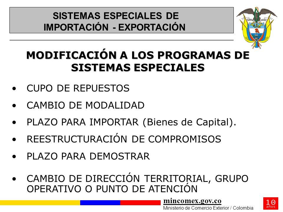 mincomex.gov.co Ministerio de Comercio Exterior / Colombia MODIFICACIÓN A LOS PROGRAMAS DE SISTEMAS ESPECIALES SISTEMAS ESPECIALES DE SISTEMAS ESPECIA