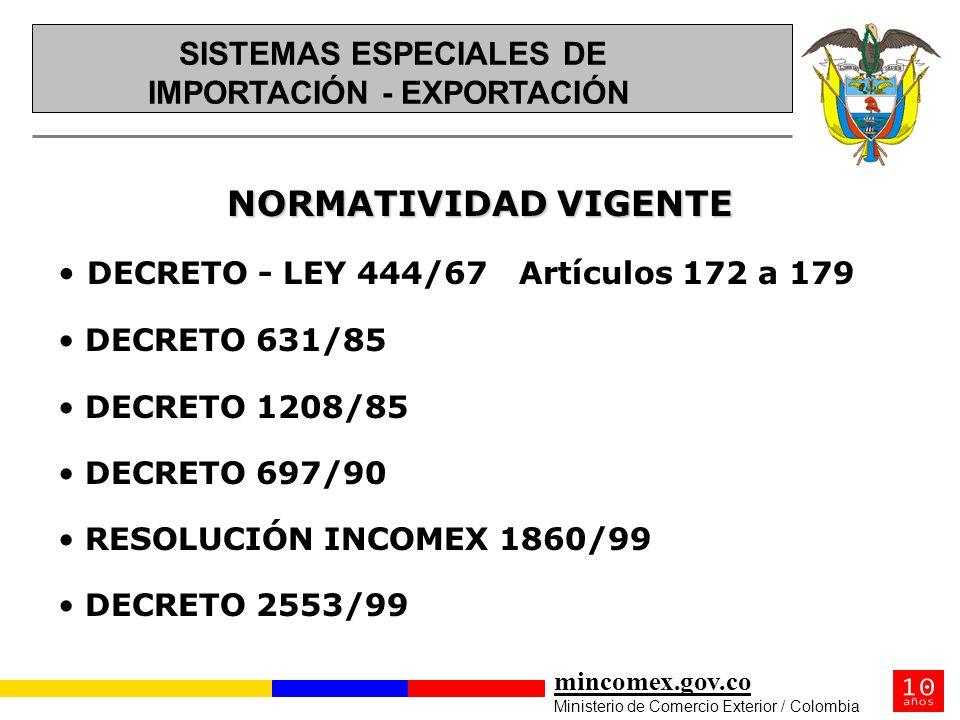 mincomex.gov.co Ministerio de Comercio Exterior / Colombia NORMATIVIDAD VIGENTE DECRETO - LEY 444/67 Artículos 172 a 179 DECRETO 631/85 DECRETO 1208/8