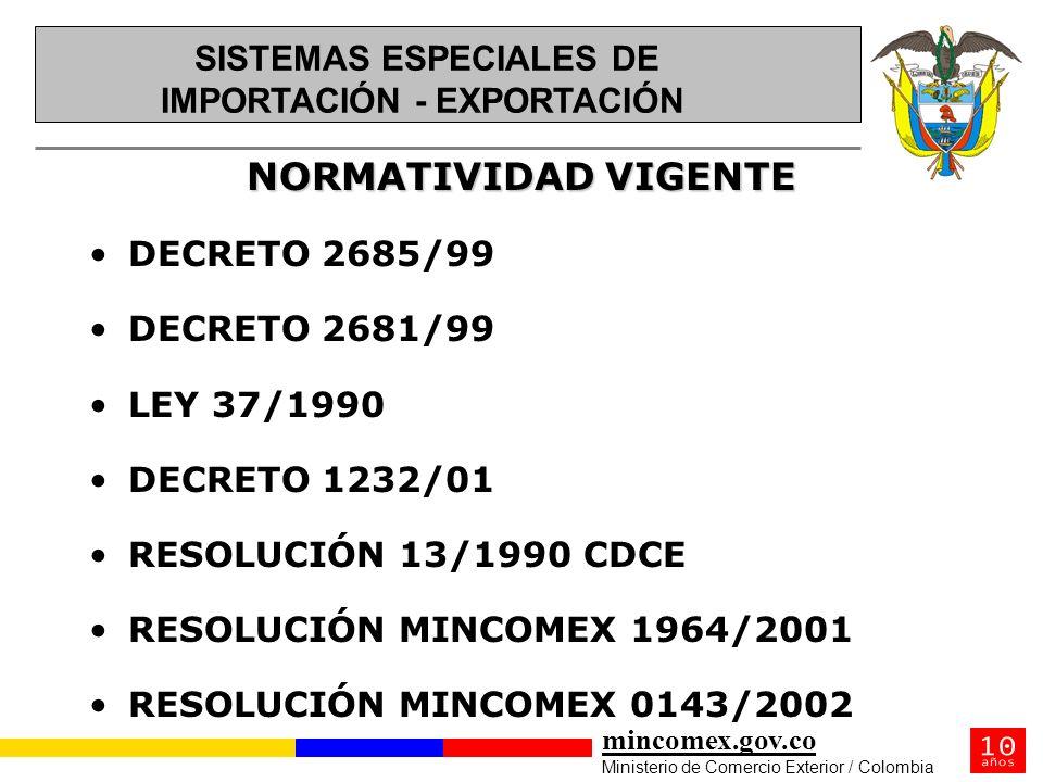 mincomex.gov.co Ministerio de Comercio Exterior / Colombia NORMATIVIDAD VIGENTE DECRETO 2685/99 DECRETO 2681/99 LEY 37/1990 DECRETO 1232/01 RESOLUCIÓN