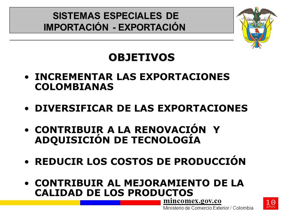 mincomex.gov.co Ministerio de Comercio Exterior / Colombia OBJETIVOS INCREMENTAR LAS EXPORTACIONES COLOMBIANAS DIVERSIFICAR DE LAS EXPORTACIONES CONTR