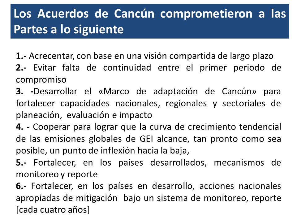 Los Acuerdos de Cancún comprometieron a las Partes a lo siguiente 1.- Acrecentar, con base en una visión compartida de largo plazo 2.- Evitar falta de