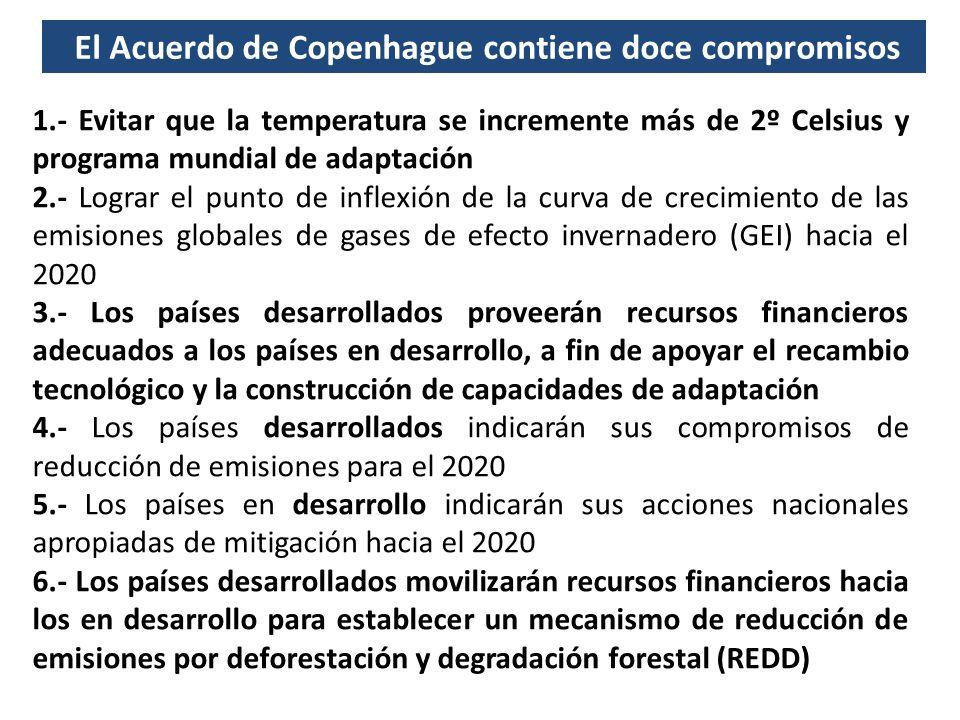 1.- Evitar que la temperatura se incremente más de 2º Celsius y programa mundial de adaptación 2.- Lograr el punto de inflexión de la curva de crecimiento de las emisiones globales de gases de efecto invernadero (GEI) hacia el 2020 3.- Los países desarrollados proveerán recursos financieros adecuados a los países en desarrollo, a fin de apoyar el recambio tecnológico y la construcción de capacidades de adaptación 4.- Los países desarrollados indicarán sus compromisos de reducción de emisiones para el 2020 5.- Los países en desarrollo indicarán sus acciones nacionales apropiadas de mitigación hacia el 2020 6.- Los países desarrollados movilizarán recursos financieros hacia los en desarrollo para establecer un mecanismo de reducción de emisiones por deforestación y degradación forestal (REDD) El Acuerdo de Copenhague contiene doce compromisos