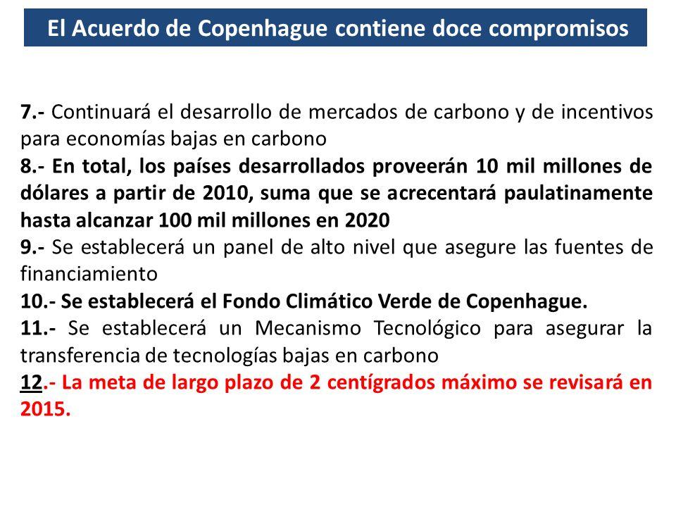 7.- Continuará el desarrollo de mercados de carbono y de incentivos para economías bajas en carbono 8.- En total, los países desarrollados proveerán 1
