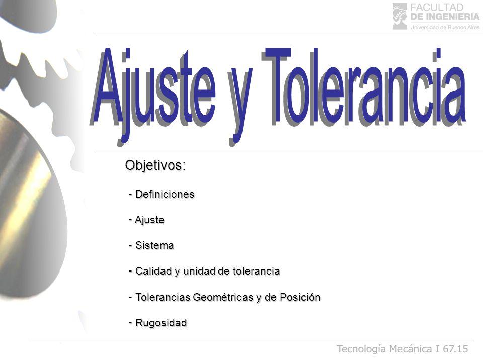 - Definiciones - Ajuste - Sistema - Calidad y unidad de tolerancia Tolerancias Geométricas y de Posición - Tolerancias Geométricas y de Posición - Rug
