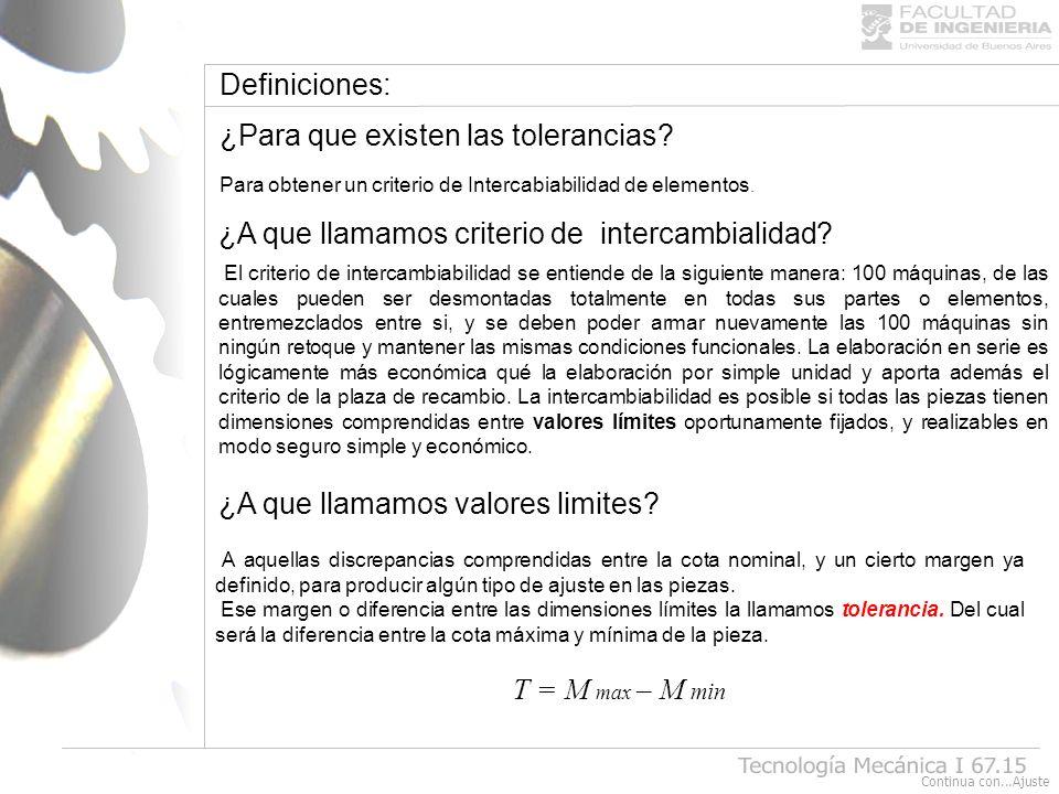 Definiciones: ¿Para que existen las tolerancias? Para obtener un criterio de Intercabiabilidad de elementos. ¿A que llamamos criterio de intercambiali