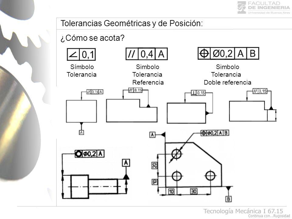 Tolerancias Geométricas y de Posición: ¿Cómo se acota? Símbolo Simbolo Simbolo Tolerancia Tolerancia Tolerancia Referencia Doble referencia Continua c