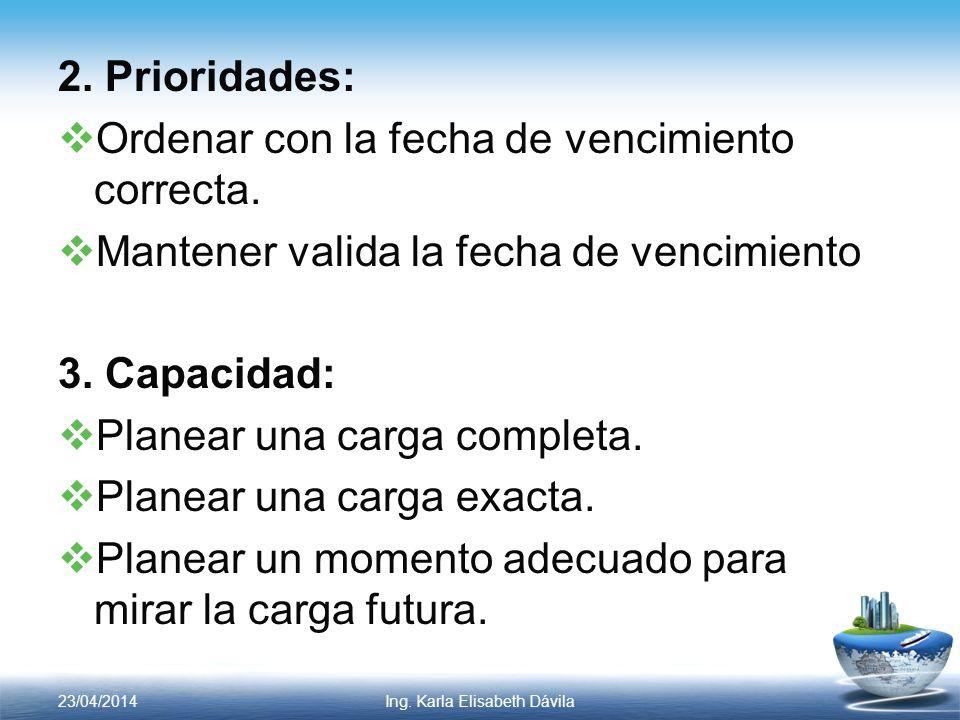 2. Prioridades: Ordenar con la fecha de vencimiento correcta. Mantener valida la fecha de vencimiento 3. Capacidad: Planear una carga completa. Planea