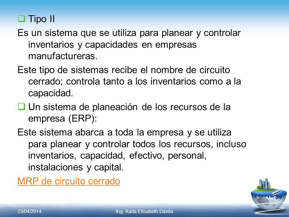 Tipo II Es un sistema que se utiliza para planear y controlar inventarios y capacidades en empresas manufactureras. Este tipo de sistemas recibe el no
