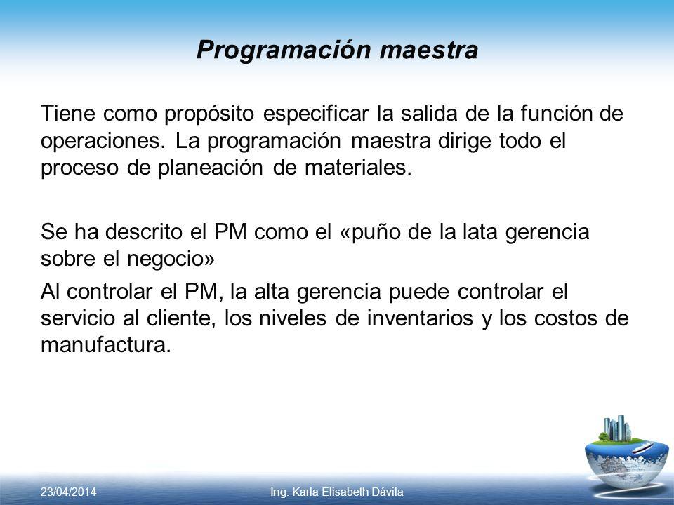 Programación maestra Tiene como propósito especificar la salida de la función de operaciones. La programación maestra dirige todo el proceso de planea