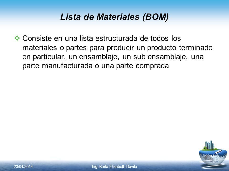 Lista de Materiales (BOM) Consiste en una lista estructurada de todos los materiales o partes para producir un producto terminado en particular, un en