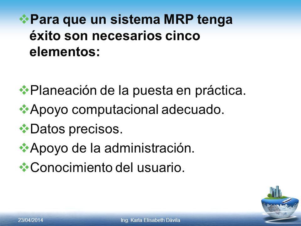 Para que un sistema MRP tenga éxito son necesarios cinco elementos: Planeación de la puesta en práctica. Apoyo computacional adecuado. Datos precisos.
