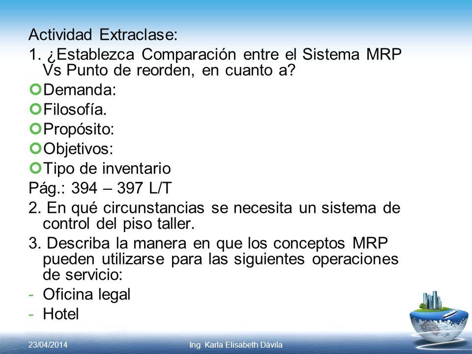 Actividad Extraclase: 1. ¿Establezca Comparación entre el Sistema MRP Vs Punto de reorden, en cuanto a? Demanda: Filosofía. Propósito: Objetivos: Tipo