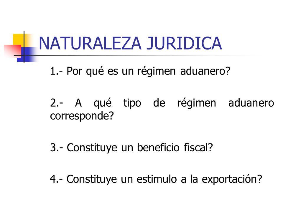 NATURALEZA JURIDICA 1.- Por qué es un régimen aduanero.