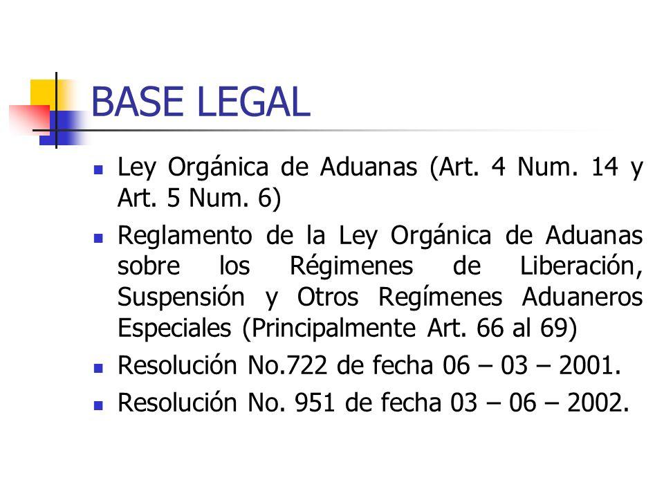 BASE LEGAL Ley Orgánica de Aduanas (Art. 4 Num. 14 y Art. 5 Num. 6) Reglamento de la Ley Orgánica de Aduanas sobre los Régimenes de Liberación, Suspen