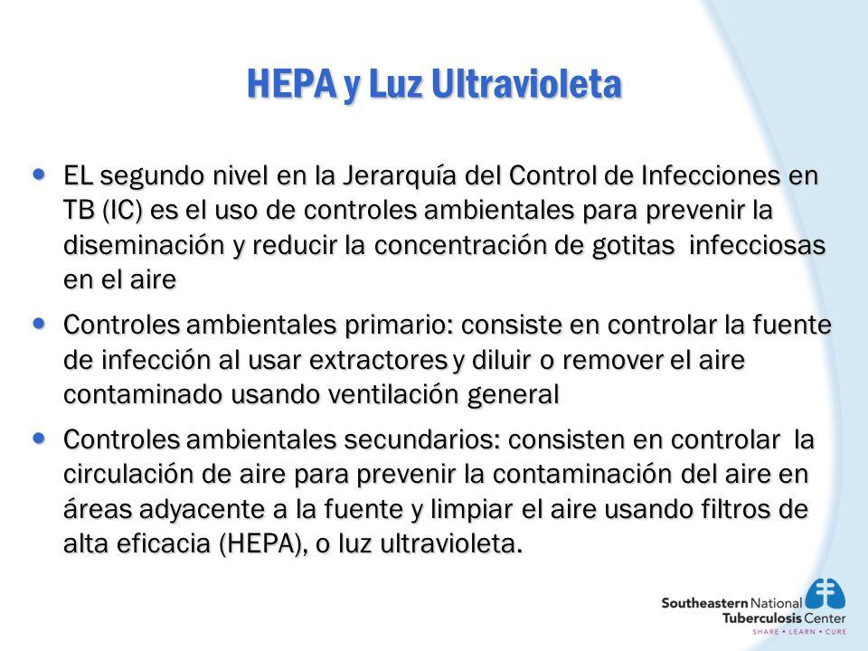 HEPA y Luz Ultravioleta EL segundo nivel en la Jerarquía del Control de Infecciones en TB (IC) es el uso de controles ambientales para prevenir la dis