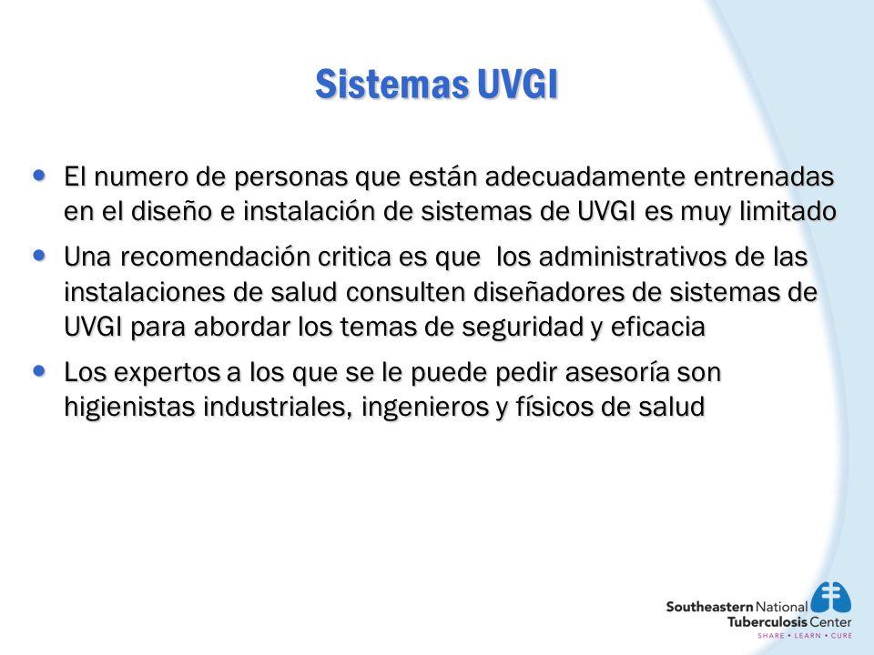 Sistemas UVGI El numero de personas que están adecuadamente entrenadas en el diseño e instalación de sistemas de UVGI es muy limitado El numero de per
