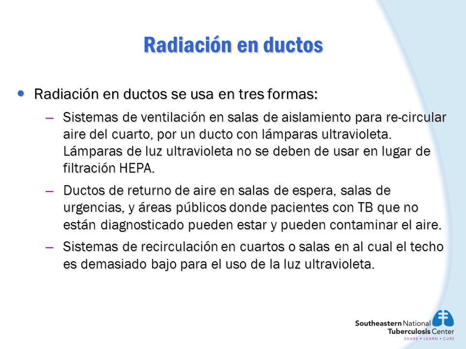 Radiación en ductos Radiación en ductos se usa en tres formas: Radiación en ductos se usa en tres formas: – Sistemas de ventilación en salas de aislam