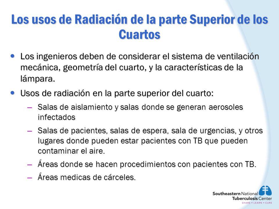 Los usos de Radiación de la parte Superior de los Cuartos Los ingenieros deben de considerar el sistema de ventilación mecánica, geometría del cuarto,