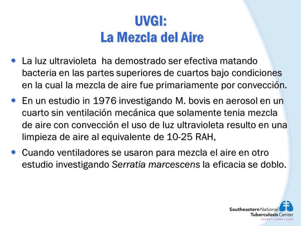 UVGI: La Mezcla del Aire Para reducir la variabilidad en la eficacia de luz ultravioleta en los sistema de radiación del aire superior causada por gradientes de temperaturas en el cuarto, un ventilador se debe usar de rutina.