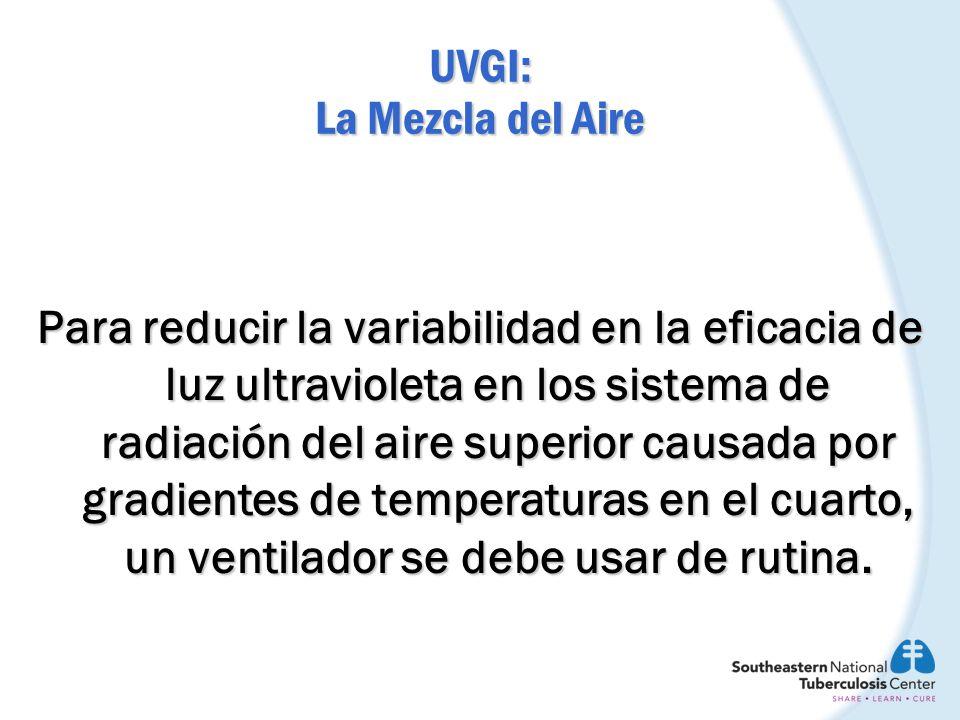 UVGI: La Mezcla del Aire Para reducir la variabilidad en la eficacia de luz ultravioleta en los sistema de radiación del aire superior causada por gra