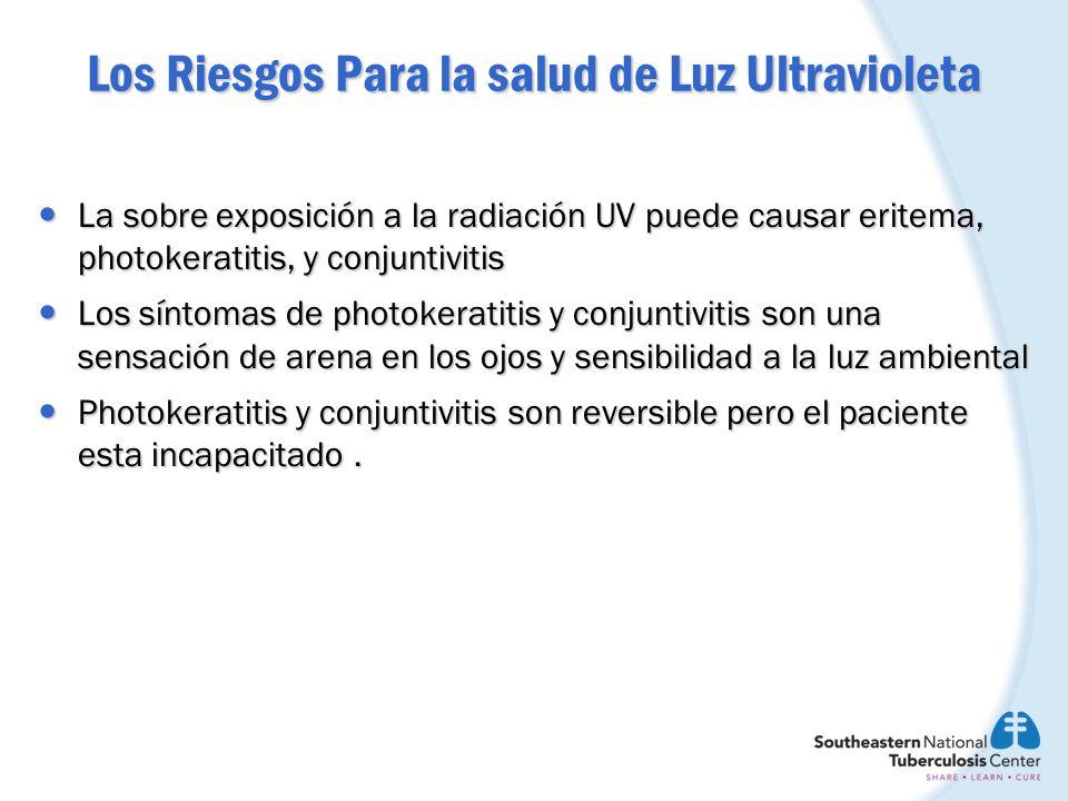 Los Riesgos Para la salud de Luz Ultravioleta La sobre exposición a la radiación UV puede causar eritema, photokeratitis, y conjuntivitis La sobre exp