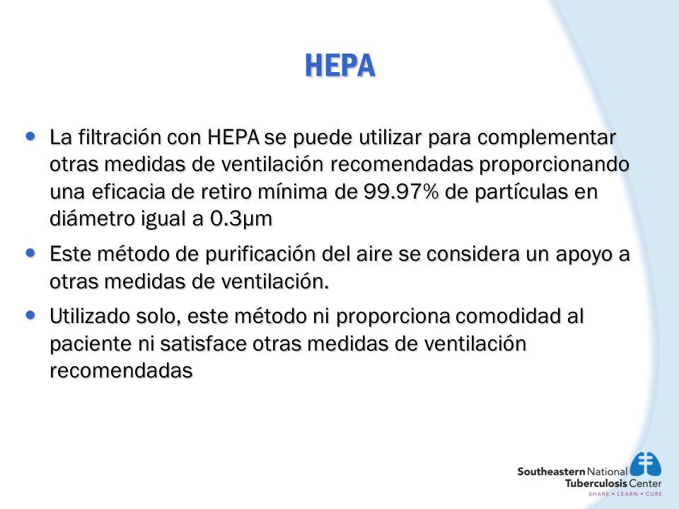 HEPA La filtración con HEPA se puede utilizar para complementar otras medidas de ventilación recomendadas proporcionando una eficacia de retiro mínima