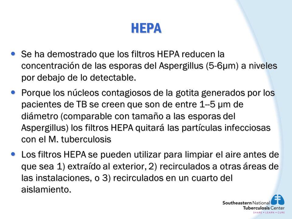 HEPA Se ha demostrado que los filtros HEPA reducen la concentración de las esporas del Aspergillus (5-6µm) a niveles por debajo de lo detectable. Se h
