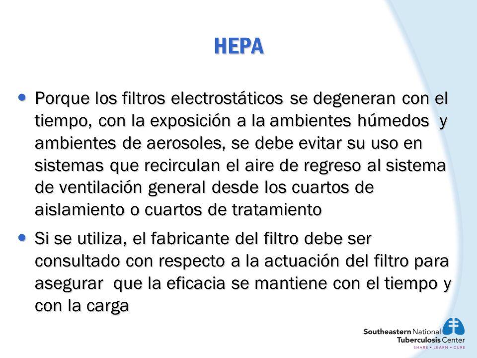 HEPA Porque los filtros electrostáticos se degeneran con el tiempo, con la exposición a la ambientes húmedos y ambientes de aerosoles, se debe evitar