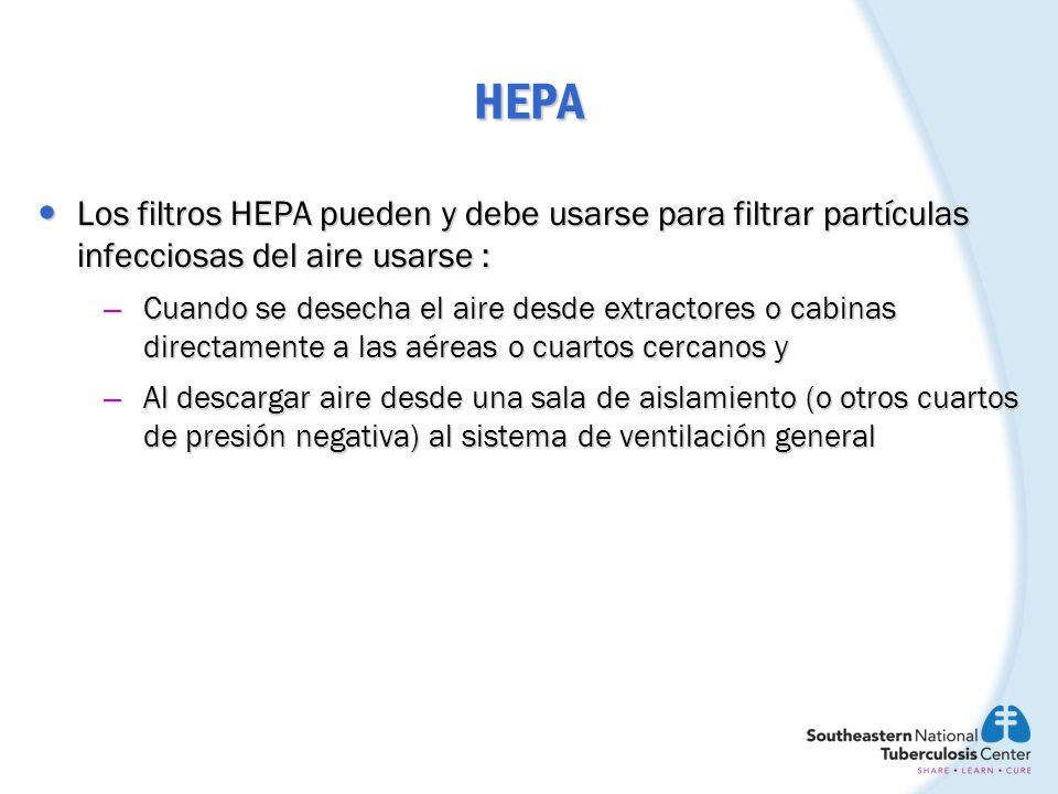 HEPA Los filtros HEPA pueden usarse para remover partículas infecciosas del aire que recircula en un lugar o extracción directamente al exterior Los filtros HEPA pueden usarse para remover partículas infecciosas del aire que recircula en un lugar o extracción directamente al exterior Los filtros HEPA pueden usarse como medida de seguridad en ductos de extractores para remover partículas infecciosas del aire que se elimina al exterior Los filtros HEPA pueden usarse como medida de seguridad en ductos de extractores para remover partículas infecciosas del aire que se elimina al exterior El aire puede recircularse con HEPA en áreas en las cuales El aire puede recircularse con HEPA en áreas en las cuales – no existe sistema de ventilación general – Un sistema existente es incapaz de proporcionar suficiente recambio de aire por hora (RAH) o, – Se desea tener una limpieza del aire (quitar las partículas) sin afectar el suministro de aire fresco o presión negativa Estos usos pueden incrementar el numero de equivalentes en RAH en el cuarto o área.