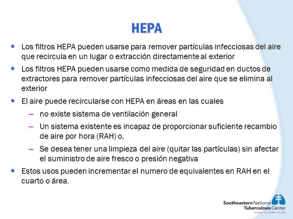 HEPA Los filtros HEPA pueden usarse para remover partículas infecciosas del aire que recircula en un lugar o extracción directamente al exterior Los f