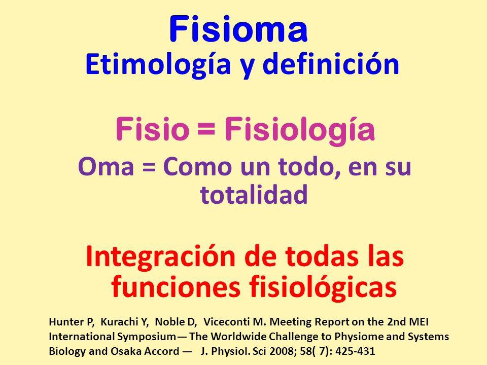 Fisio = Fisiología Oma = Como un todo, en su totalidad Integración de todas las funciones fisiológicas Hunter P, Kurachi Y, Noble D, Viceconti M. Meet