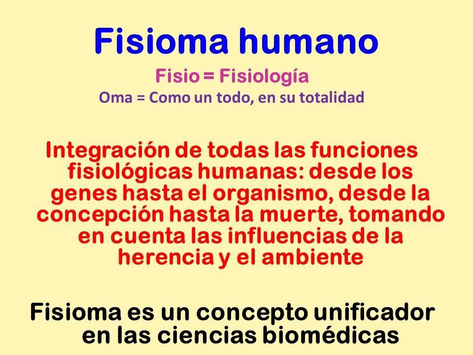 Fisio = Fisiología Oma = Como un todo, en su totalidad Integración de todas las funciones fisiológicas humanas: desde los genes hasta el organismo, de
