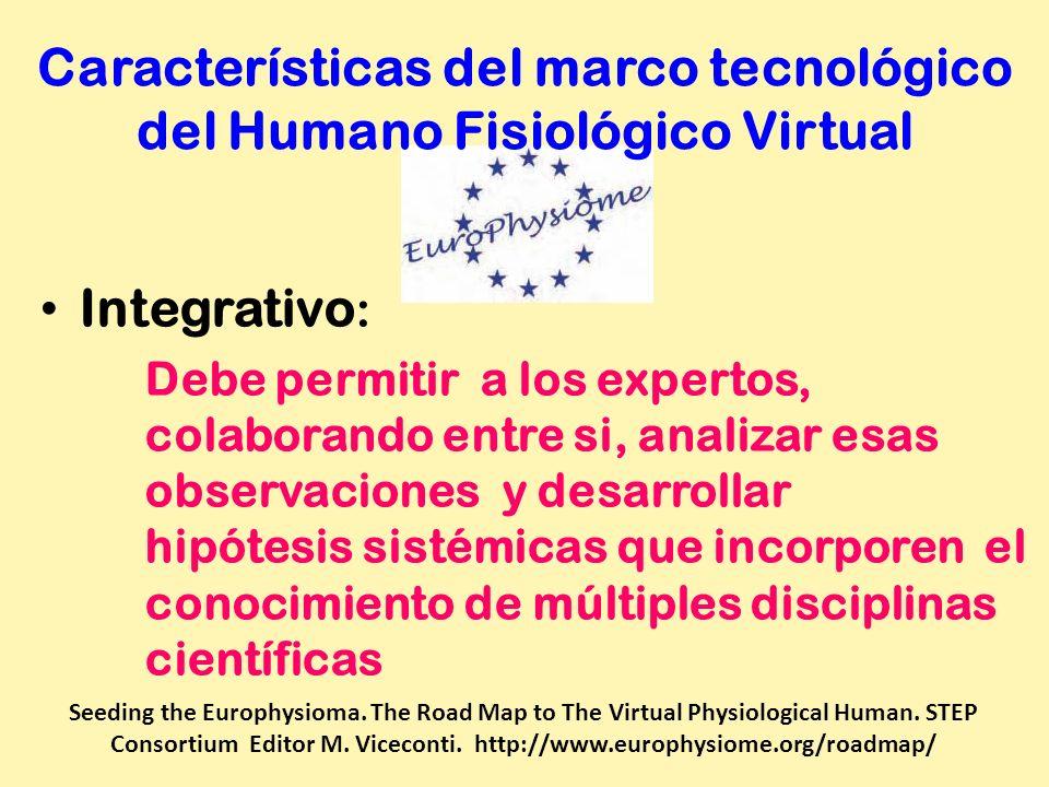 Características del marco tecnológico del Humano Fisiológico Virtual Integrativo : Debe permitir a los expertos, colaborando entre si, analizar esas o