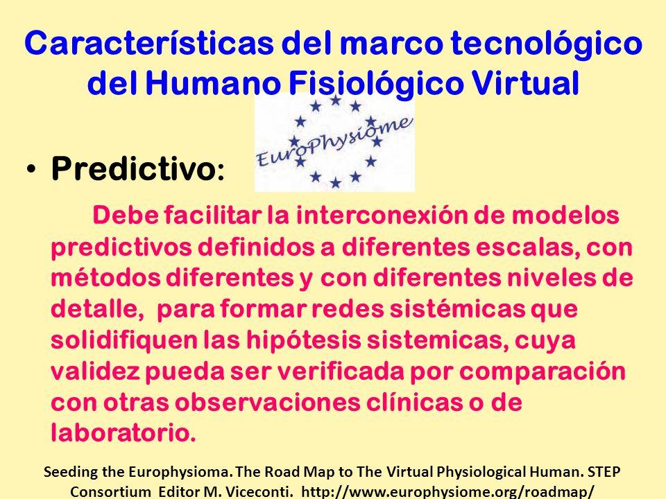 Características del marco tecnológico del Humano Fisiológico Virtual Predictivo : Debe facilitar la interconexión de modelos predictivos definidos a d