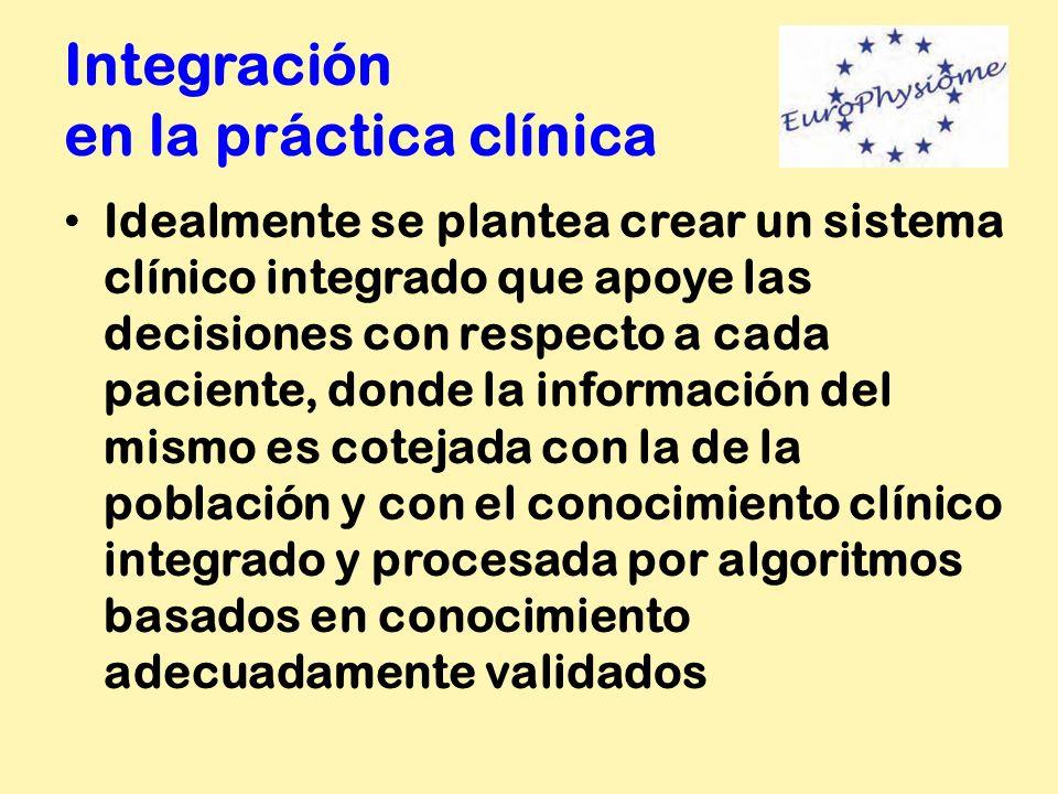 Integración en la práctica clínica Idealmente se plantea crear un sistema clínico integrado que apoye las decisiones con respecto a cada paciente, don