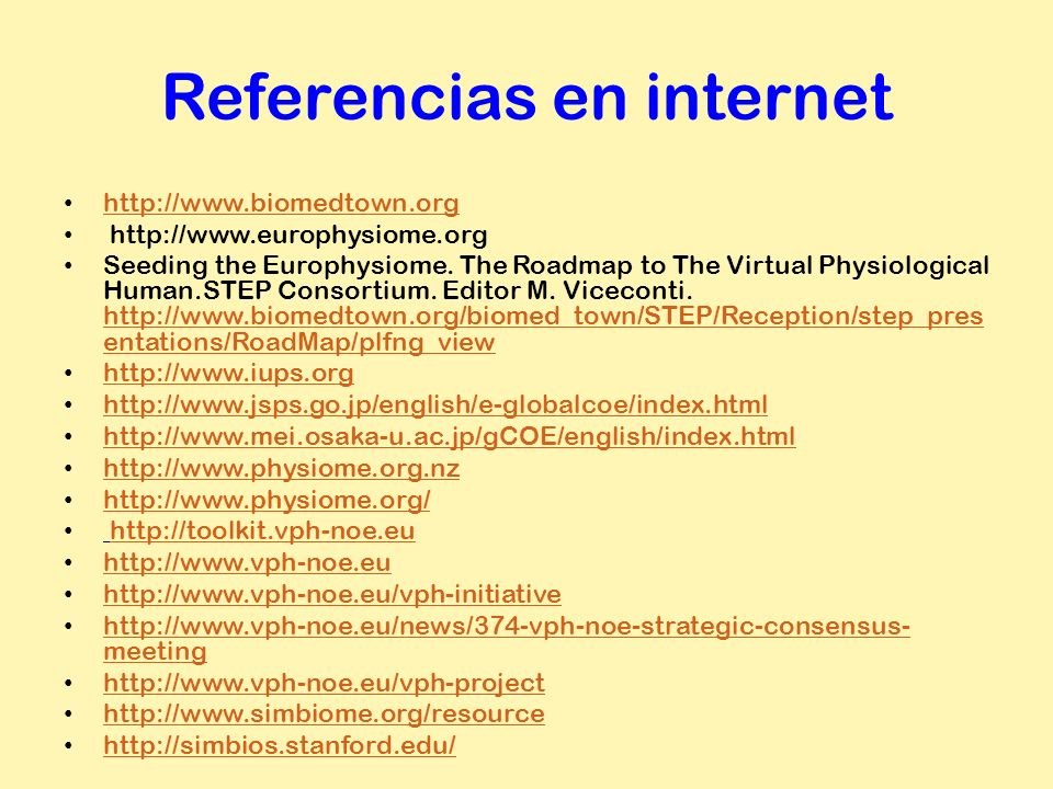 Referencias en internet http://www.biomedtown.org http://www.europhysiome.org Seeding the Europhysiome. The Roadmap to The Virtual Physiological Human
